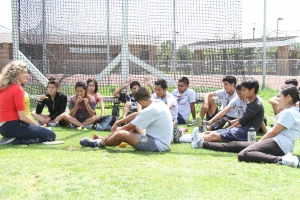 Me, talking to college track team about breathing and applying mental skills to performance.